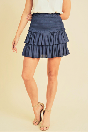 Silky Blue Layered Mini Skirt | Bella Lucca Boutique