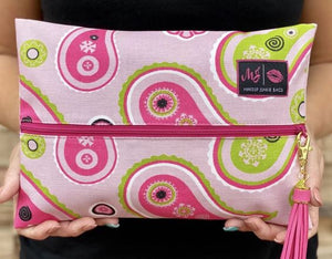Pink Paisley Makeup Junkie Small Bag-Bella Lucca Boutique