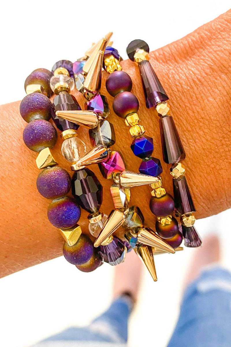 Purple & Gold Bracelet Set