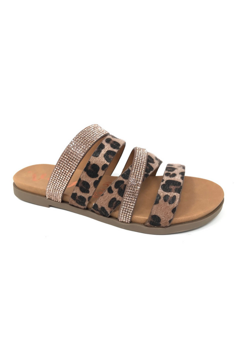 Strappy Leopard Rose Gold Sandals | Bella Lucca Boutique