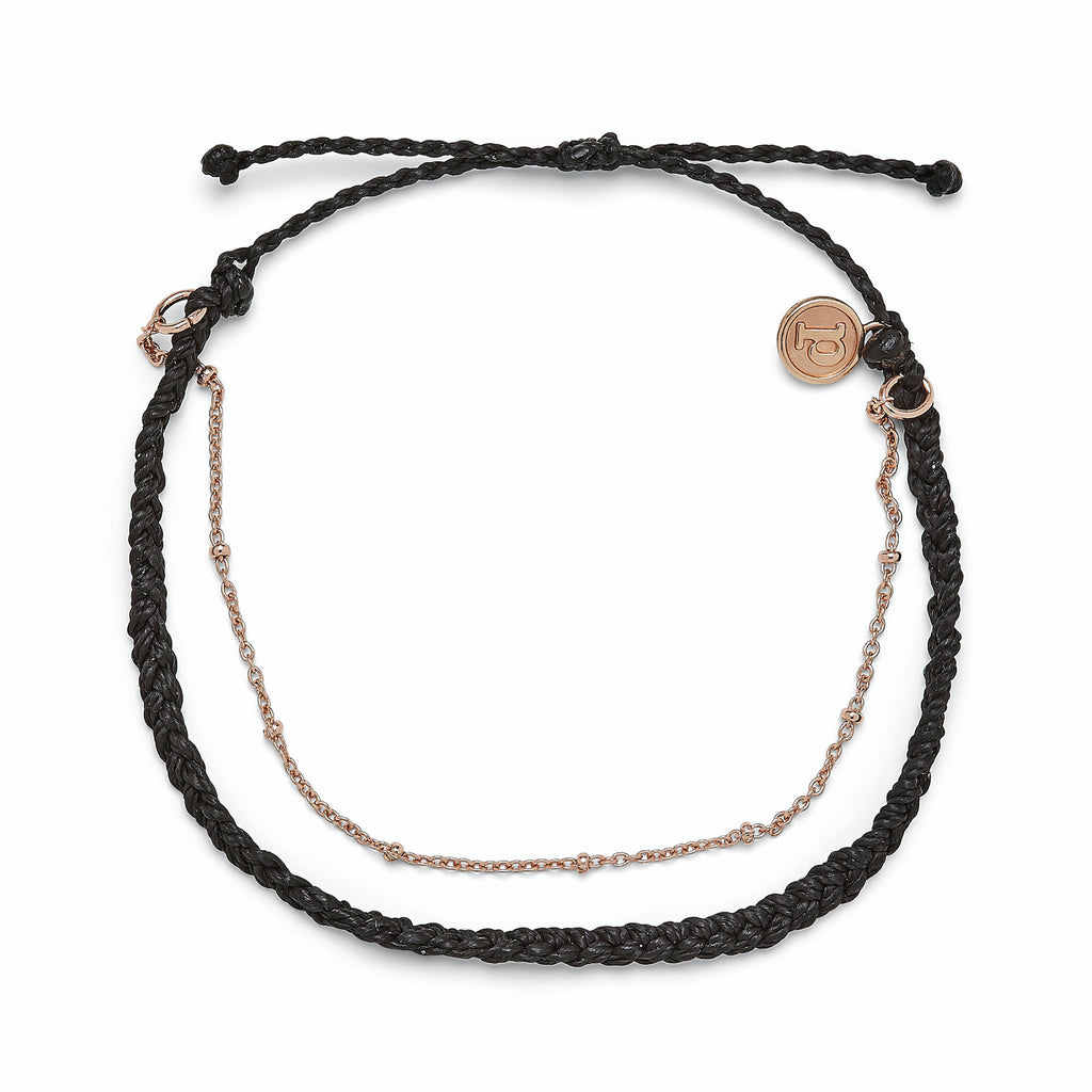 Pura Vida Rose Gold Satellite Chain Anklet | Black