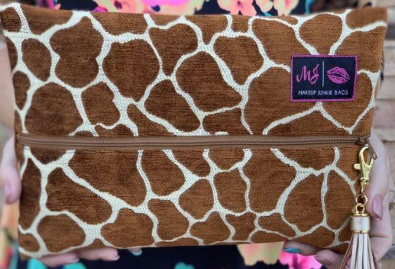 Giraffe Makeup Junkie Small Bag-Bella Lucca Boutique