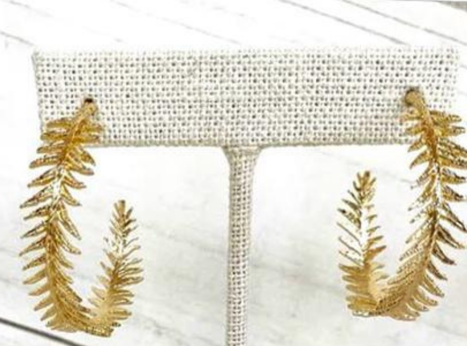 Gold Laurel Leaf Earrings-Bella Lucca Boutique