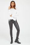 Spanx Black Faux Leather Moto Leggings