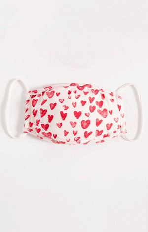Z Supply Reusable Face Mask Valentine's Day Collection - Heart Print Youth Mask