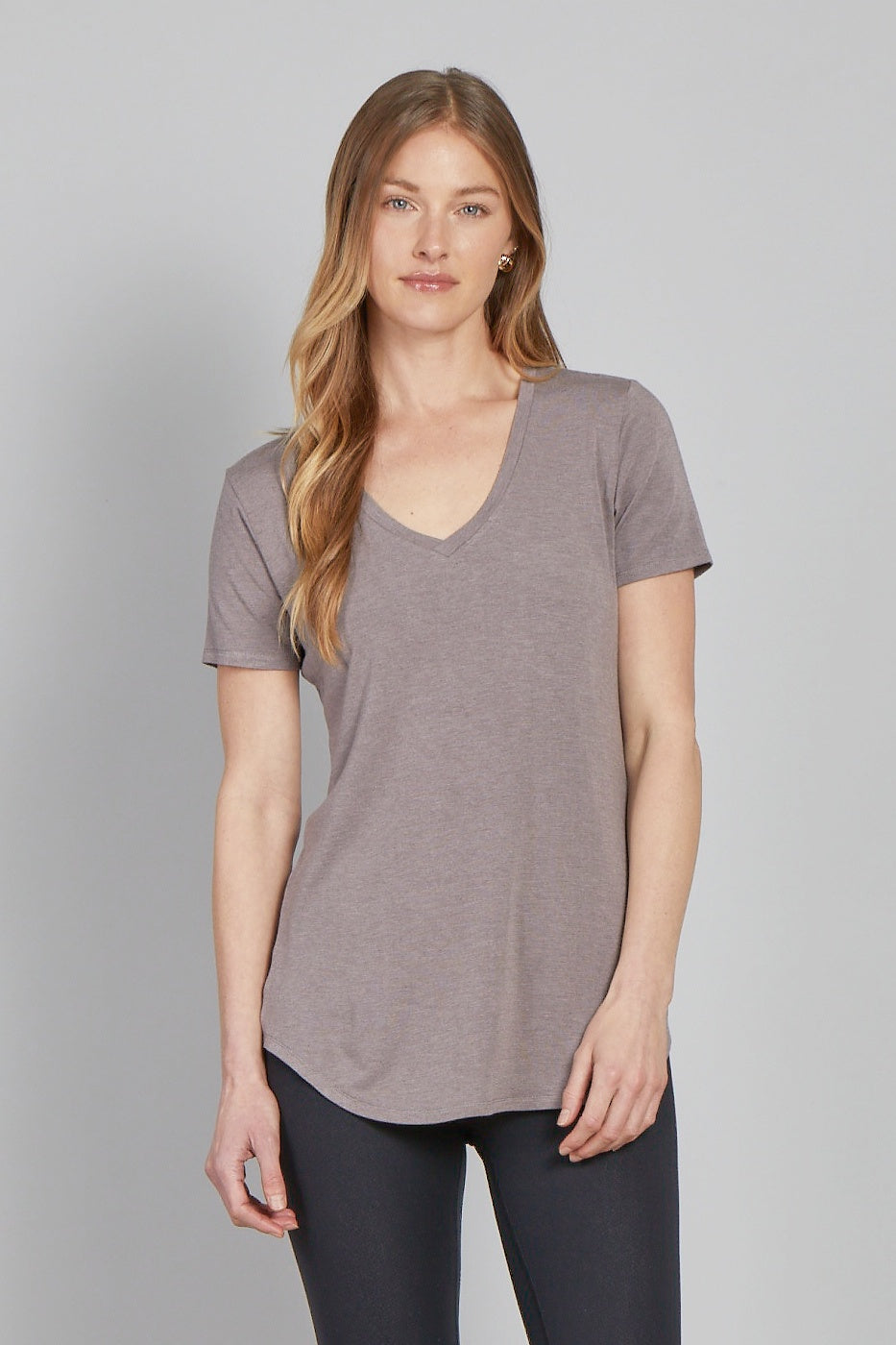 Megan V-Neck Tee-Driftwood Grey