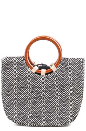 WOOD HANDLE CHEVRON BAG