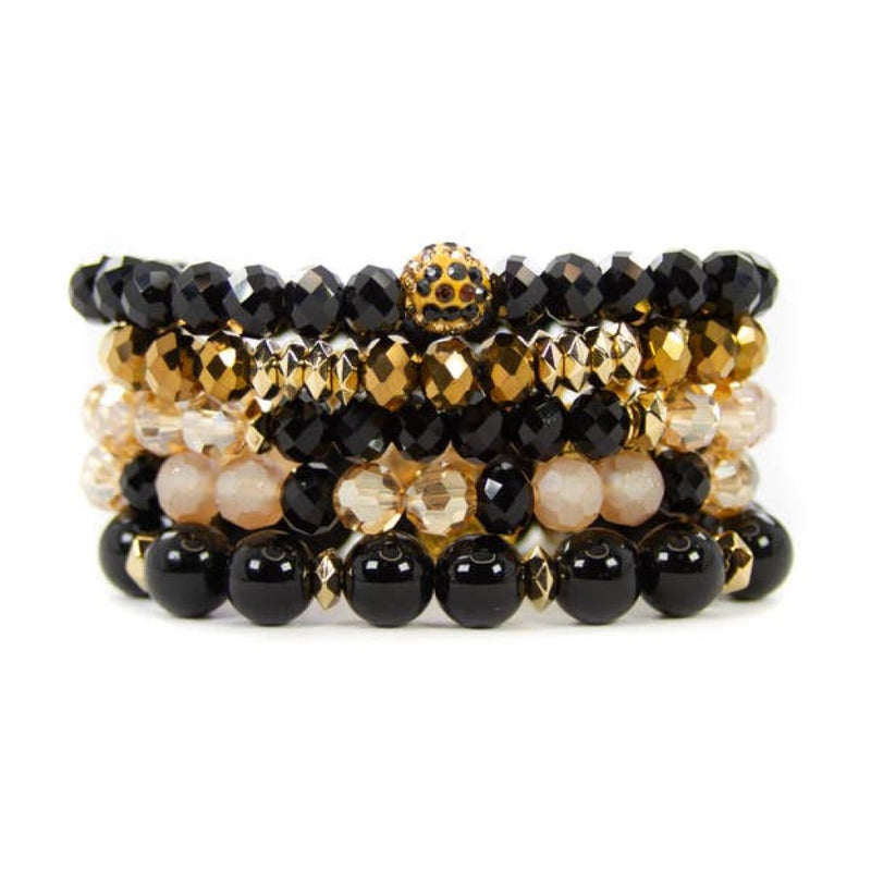 black leopard bracelet set