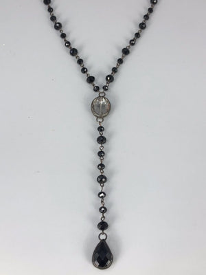 Rose Long Lariat Necklace-Black