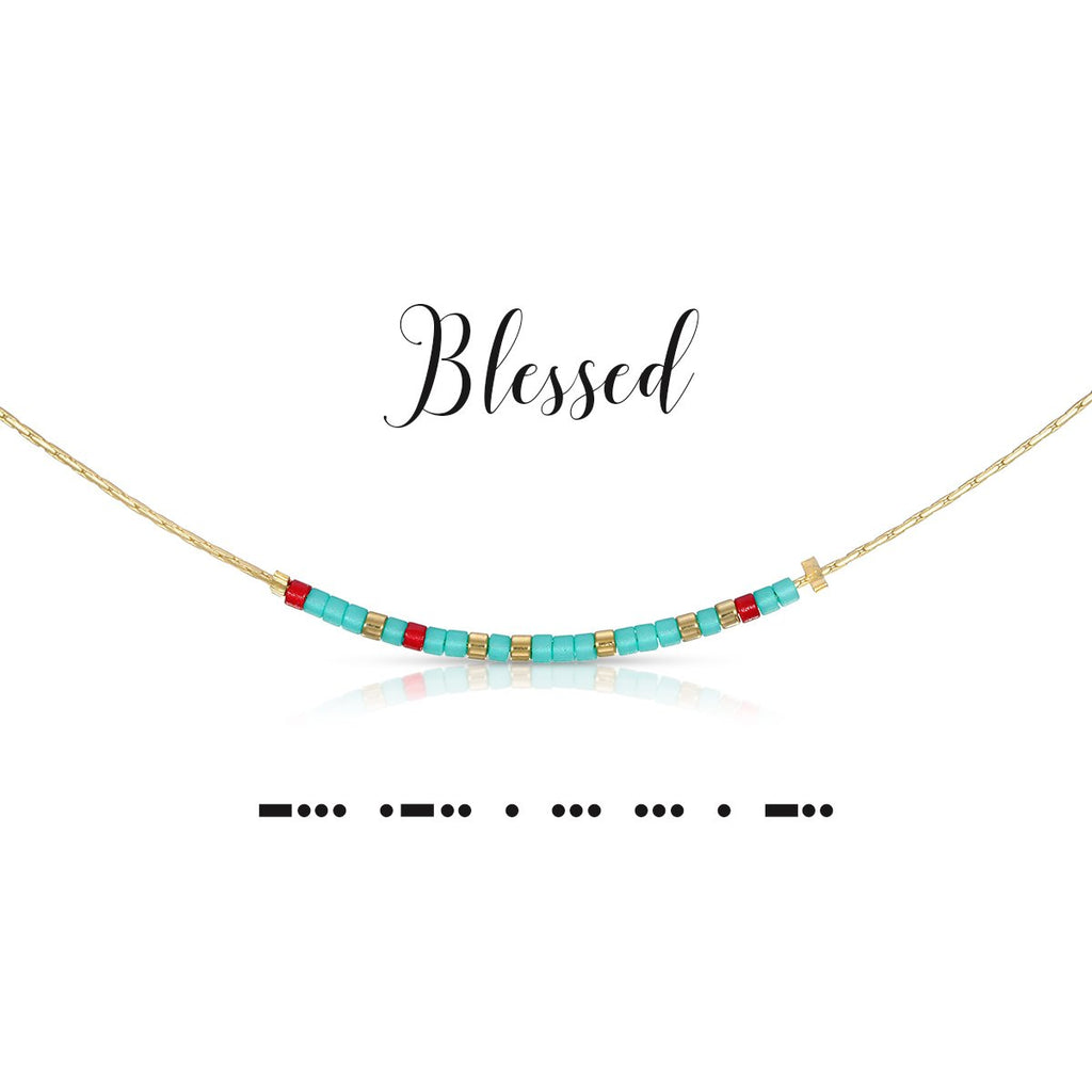 MORSE CODE NECKLACE - BLESSED