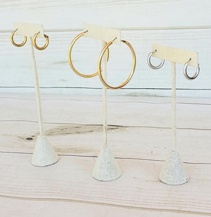 Brushed Hoops All Sizes - Gold Hoops, Gold Huggies, Silver Huggies, Silver Hoops