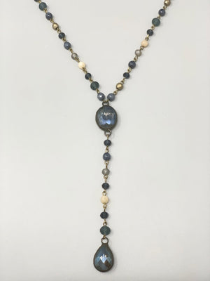 Rose Long Lariat Necklace-Cashmere Blue