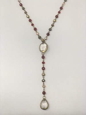 Rose Long Lariat Necklace-Cranberry