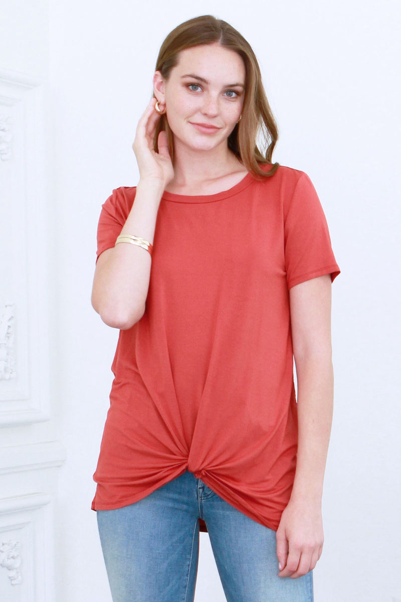 JULIA FRONT KNOT TOP | CLAY