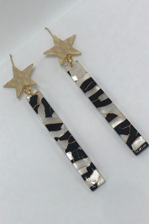 Gold Hammered Star Black Stained Glass Acrylic Bar Earrings-Bella Lucca Boutique