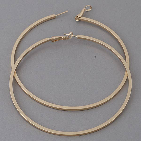 X-LARGE MATTE BAR HOOP EARRINGS