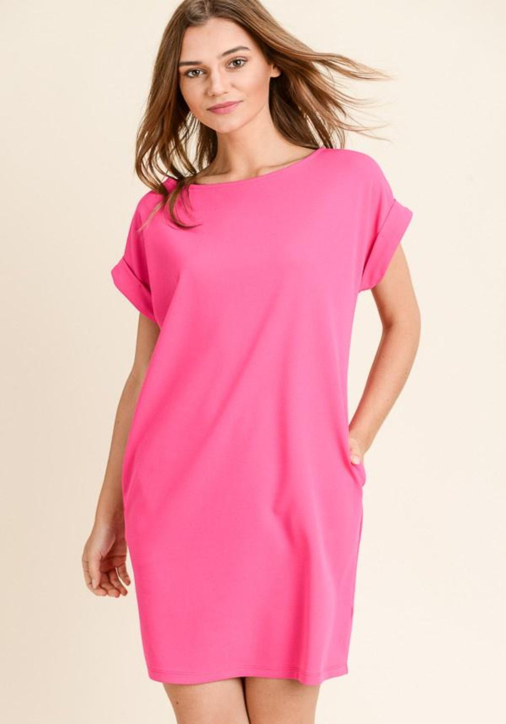 Fuchsia Shirt Dress-Bella Lucca Boutique