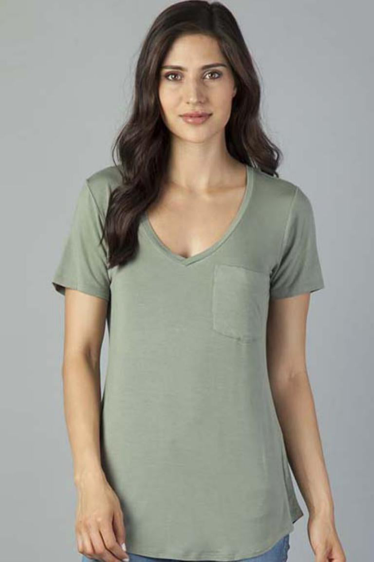 Phoenix Pocket V-neck Tee-Orchid