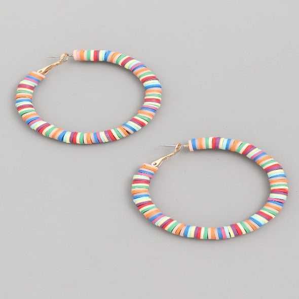 BEADED DISC HOOP EARRINGS