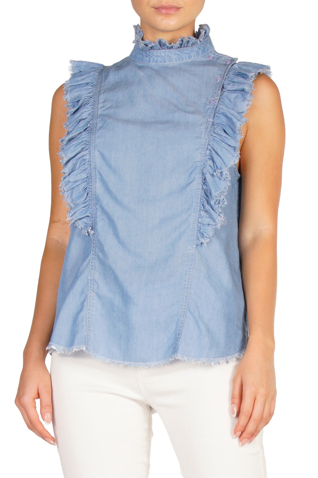 Sleeveless Ruffle Detail Denim Top