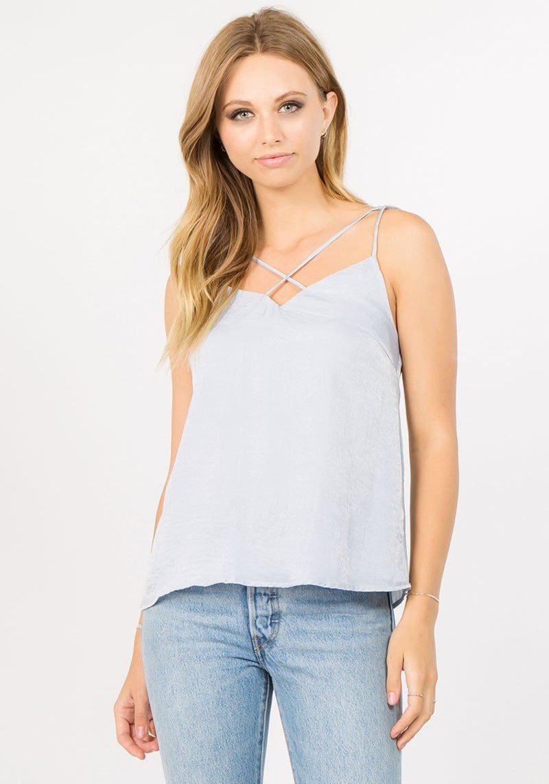 strut bolt satin cami top light cloudy blue