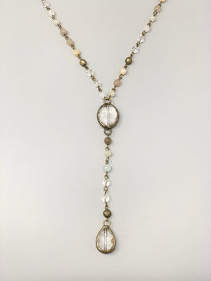 Rose Long Lariat Necklace-Linen