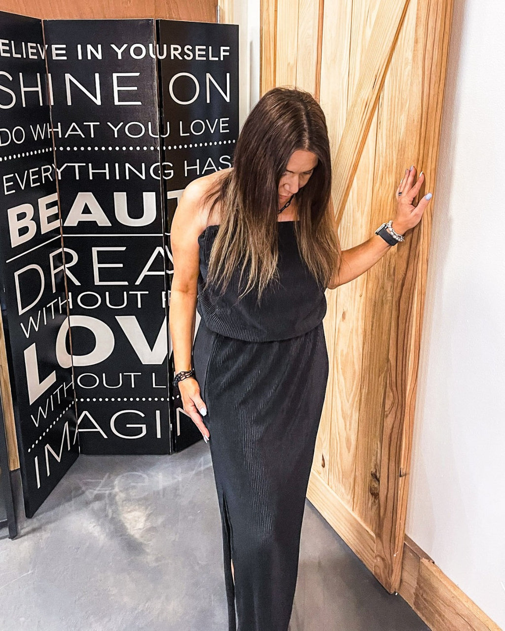 Black Silky Strapless Maxi Dress | Bella Lucca Boutique ALL RIGHTS RESERVED