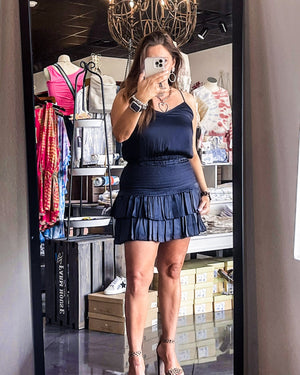 Silky Navy Layered Mini Skirt | Bella Lucca Boutique ALL RIGHTS RESERVED