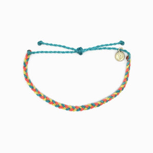 Pura Vida Mini Braided Bracelet Rainbow Sherbert colorful beach vibes wrist candy yellow blue baby orange