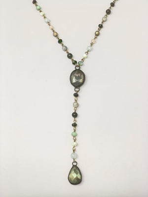 Rose Long Lariat Necklace-Mint