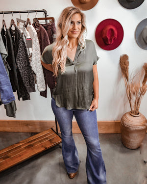 Olive Silky Top Bella Lucca Boutique