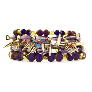 purple gold bracelet stack