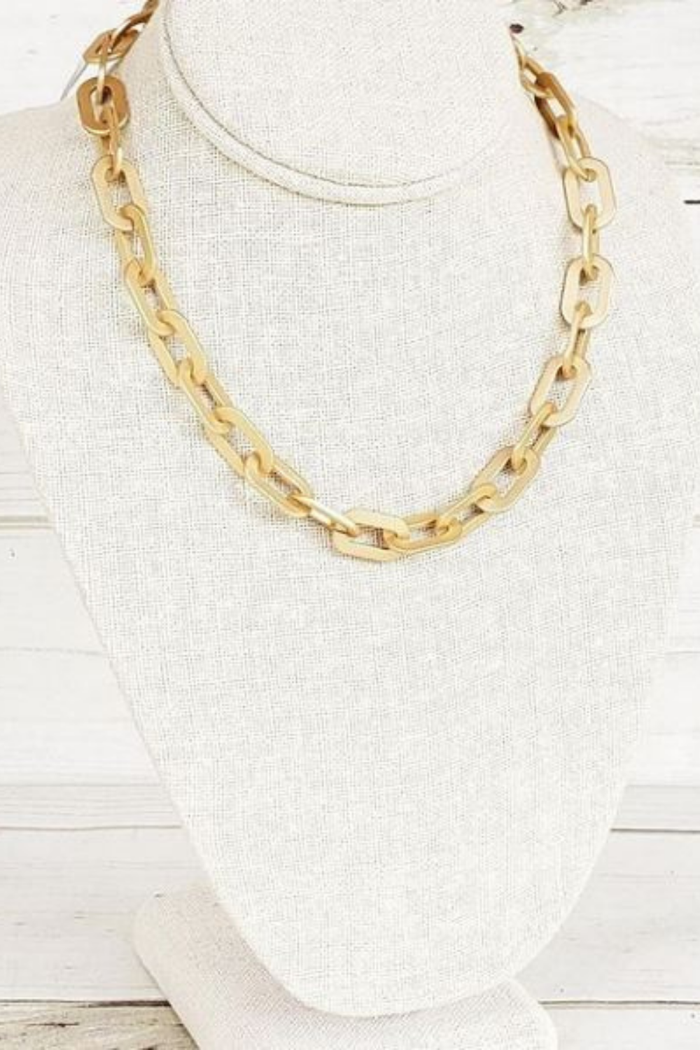 Gold Oval Thick Link Chain Necklace Virtue Jewelry