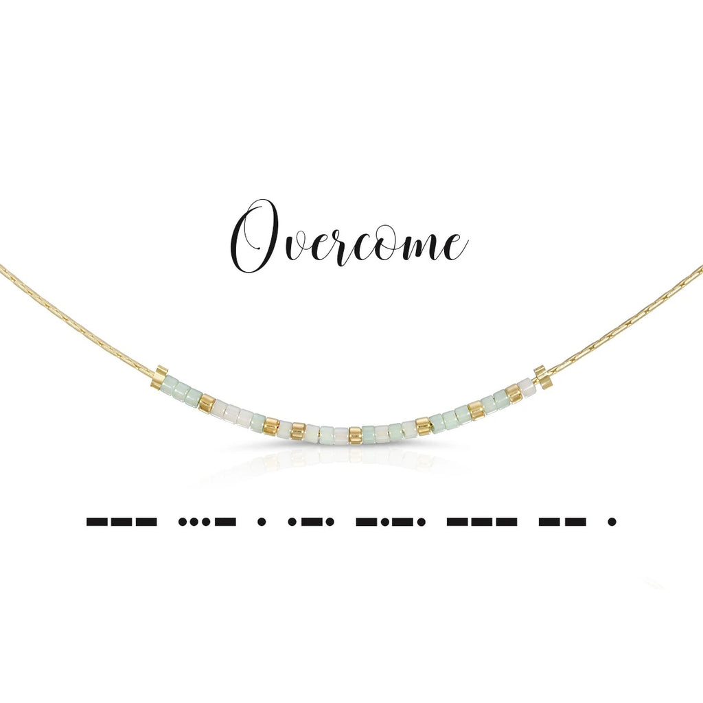 MORSE CODE NECKLACE - OVERCOME