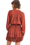 Satin Tiered Ruffle Dress in Rust