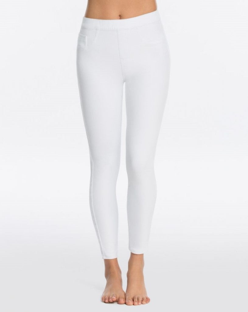 spanx jeanish ankle leggings white front