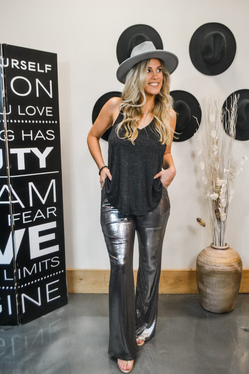 Metallic flare pants Bella Lucca Boutique all rights reserved