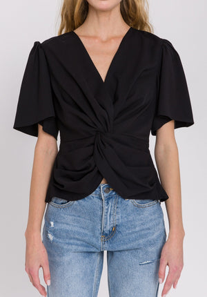 TWIST FRONT RUFFLE SLEEVE BLOUSE