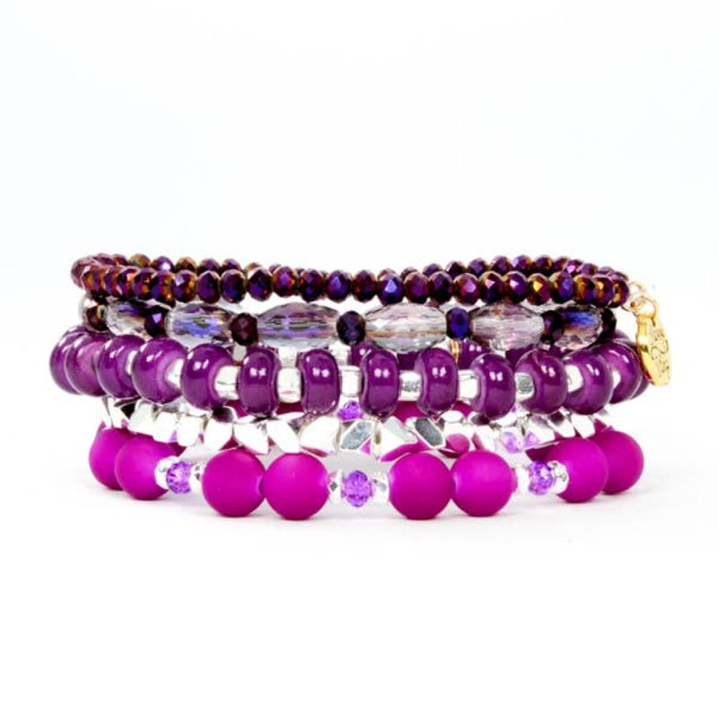 violet purple bracelet stack