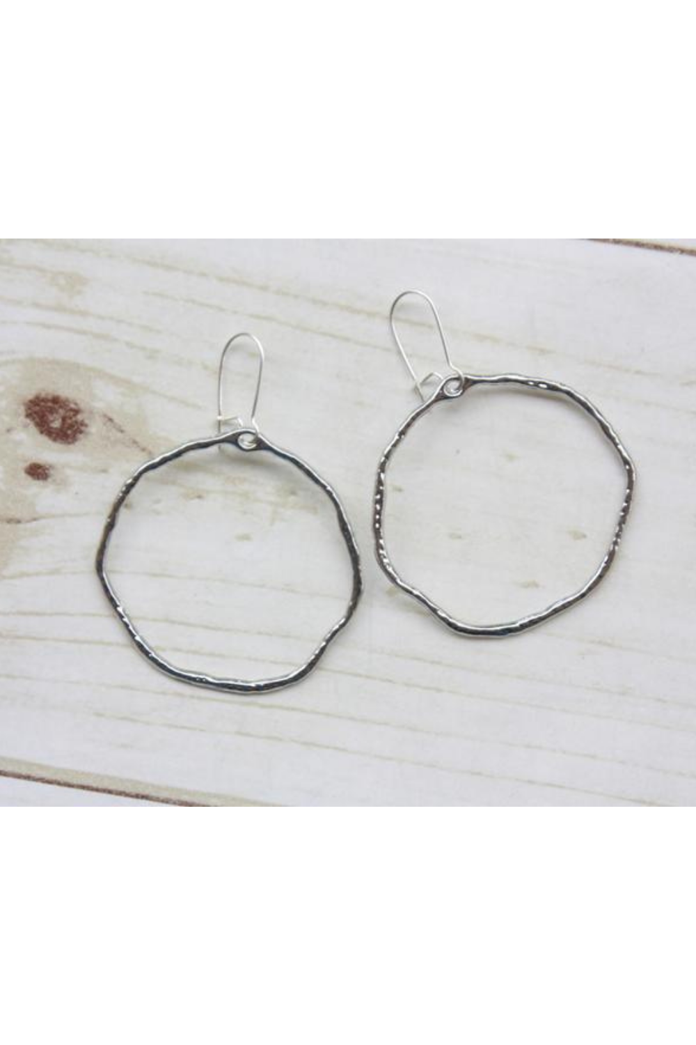Silver Hammered Branch Hoops-Bella Lucca Boutique