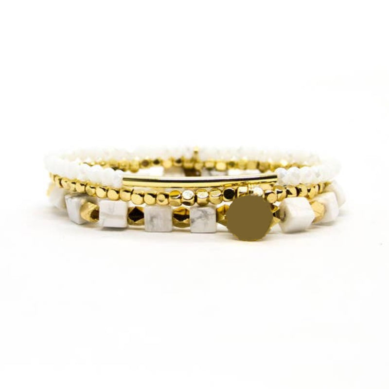 white and gold bracelet set