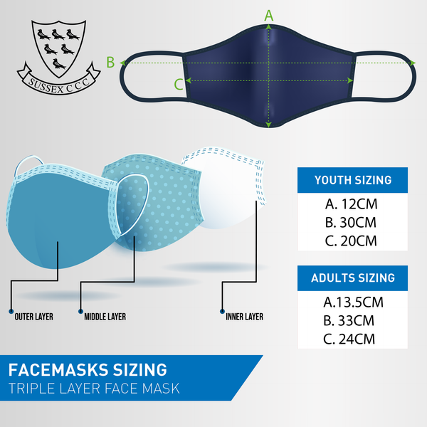 Sussex Face Mask - Club Crests