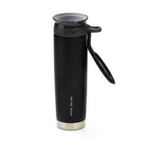 WOW GEAR 360° Double Walled Stainless Insulated Water Bottle - Black, 22 OZ / 650 ML