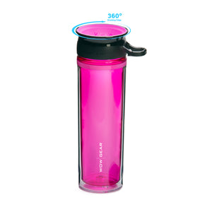 WOW GEAR 360° Double-Walled TRITAN™ Water Bottle - Pink, 20 OZ / 600 ml