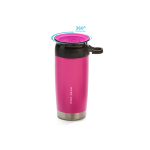 WOW GEAR 360° Double Walled Stainless Insulated Water Bottle - Pink, 13.5 OZ / 400 ML