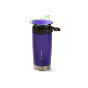 WOW GEAR 360° Double Walled Stainless Insulated Water Bottle - Purple, 13.5 OZ / 400 ML