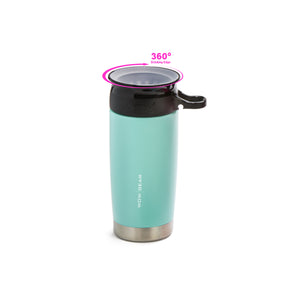 WOW GEAR 360° Double Walled Stainless Insulated Water Bottle - Turquoise, 13.5 OZ / 400 ML