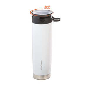 WOW GEAR 360° Double Walled Stainless Insulated Water Bottle - White, 22 OZ / 650 ML
