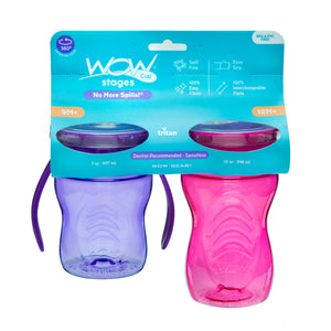 WOW CUP Stages Two-Pack - Pink Kids and Purple Baby Cups