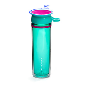 WOW GEAR 360° Double-Walled TRITAN™ Water Bottle - Turquoise, 20 OZ / 600 ml